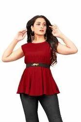 Ladies Red Sleeveless Top