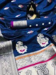 Festive Wear mix Banarsi Silk Weaving Jacquard Saree, 5.5 m (separate blouse piece)