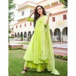 Stitched Green Ladies Fancy Anarkali Suits, Handwash