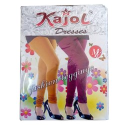 Blue Heart Plain Churidar Lycra Cotton Fashion Leggings for Kids, Size: Free Size