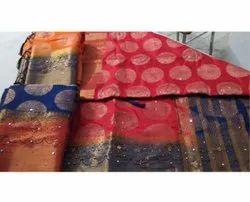 Party Wear Border Fancy Banarasi Silk Saree, 6 m (with blouse piece)