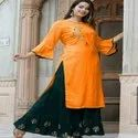 Heavy Rayon Cotton With Embroidery Work Ladies Suit
