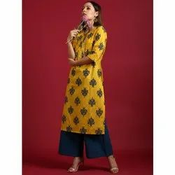 Janasya Women's Yellow Cotton Kurta With Palazzo(SET240)