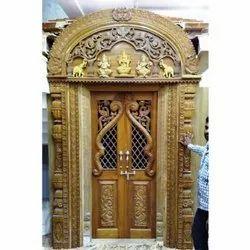 Wooden Pooja Mandir, Hand Carved