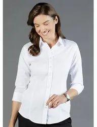 Cotton Plain Ladies Formal Shirt, Size: Medium