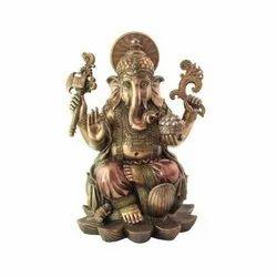 Copper Finish Vinayaka On Lotus Pedestal