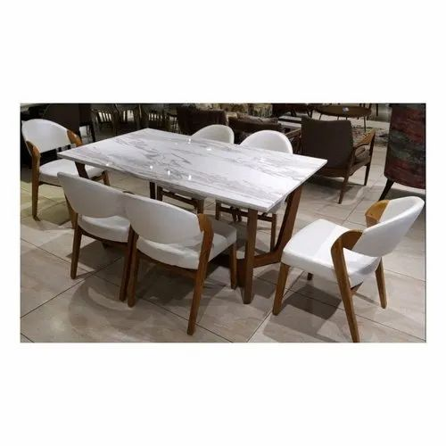 Six Chair With One Table White Marble Dining Set For Hotel Home Rs 42000 Piece Id 10588286391