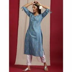 Janasya Women's Blue Cotton Kurta (JNE3560)