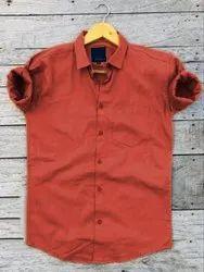 Collar Neck Formal Wear Men Solid Plain Mahroon Cotton Casual Regular Full Sleeves Shirt