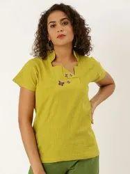 Jaipur Kurti Mustard Placement Embroidered Boxy Top