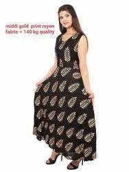 Cotton Black Midi rayon