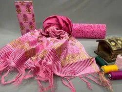 Regular Wear Bagru Hast kala Printers Chanderi Silk Suit Set