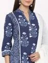 Jaipur Kurti Women Indigo Blue Printed Straight Cotton Kurta With Salwar & Dupatta