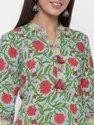 Jaipur Kurti Women Sea Green Floral Motif Straight Cotton Kurta With Palazzo