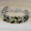 Citrine And Peridot Gemstone 925 Sterling Silver Handmade Bracelet SJWBR-265