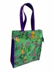 Green And Blue Leather & Cotton Designer Hand Bag