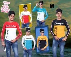 Lycra Cotton Round Kids Casual Wear T Shirts, Size: Medium
