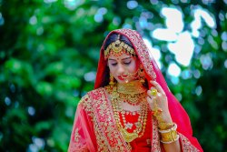 Red Net Bridal Wedding Dresses, Size: Free