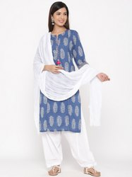 Jaipur Kurti Women Blue Ethnic Motif Straight Cotton Kurta With Salwar & Dupatta