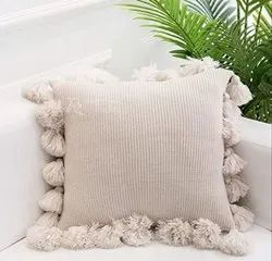 Fancy Plain Cotton Tassel Cushion Cover