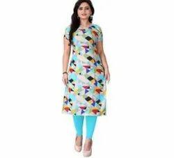 Crepe Casual Wear Printed Women Long Kurti, Size: Medium, Wash Care: Machine wash