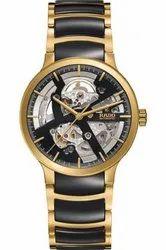 Round Luxury(Premium) Centrix Black Skeleton Dial Men's Watch, For Personal Use
