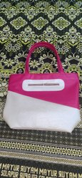 Pink, White Plain Ladies Leather Bag