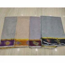 Plain Casual Wear Ikat Designer Cotton Saree, 6 m (with blouse piece)