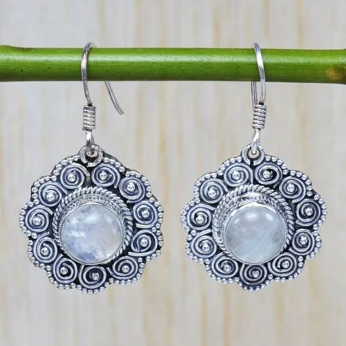 925 sterling silver natural rainbow moonstone earrings jewelry