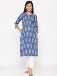 Jaipur Kurti Women Blue Ethnic Motif Straight Cotton Kurta