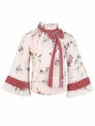 Lycra Casual Wear Girls Floral Printed Top, Size: Medium