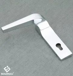 Chrome Polished Plate Handle With Lock Space Door Lever Handle-12