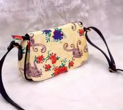 DY Cotton,Pu Leather Printed Sling Cotton Ikkat Bag