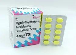 Trypsin-Chymotrypsin 50000 Armour Units   Aceclofenac 100 Mg   Paracetamol 325 Mg