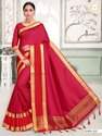 Present New Design Kadva Silk Saree With Good Looking Blouse Piece