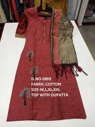 new designer cotton top with dupatta style kurti