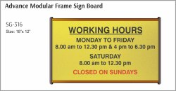 Aluminum Yellow Aluminium Advance Modular Frame Sign Board, Shape: Rectangular