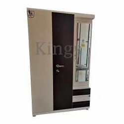 Kings Cream and Nut Brown 48 Inch 3 Door Cut Dressing Almirah, For Home