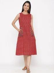 Jaipur Kurti Maroon Printed Embroidered Dress
