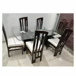 Craft World 6 Seater Glass Top Dining Table Set