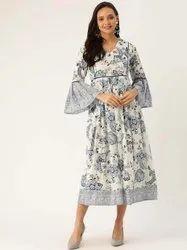 Jaipur Kurti Women White and Blue Floral Print Flared Cotton Dress
