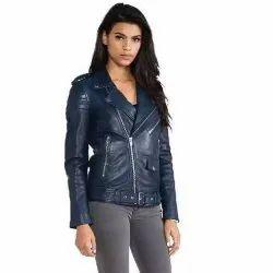 Full Sleeve Party Wear Women Leather Jacket
