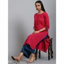 Janasya Women's Pink Cotton Kurta(JNE3575)