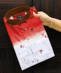 Men Red Shaded Printed Cotton Casual Party Wear Shirt