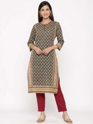 Jaipur Kurti Women Charcoal Ethnic Motif Straight Cotton Kurta