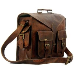 Brown Plain Leather Office Bags