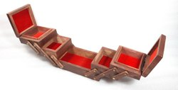 Brown Five Compartment Wooden Jewellery Box