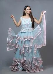 Blue Embroidered Designer Party Wear Gown, Size: L