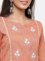 Jaipur Kurti Women Rust & Off-White Woven Design Straight Handloom Kurta With Palazzo