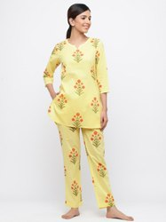 Jaipur Kurti Women Yellow Floral Print Straight Cotton Lounge Wear